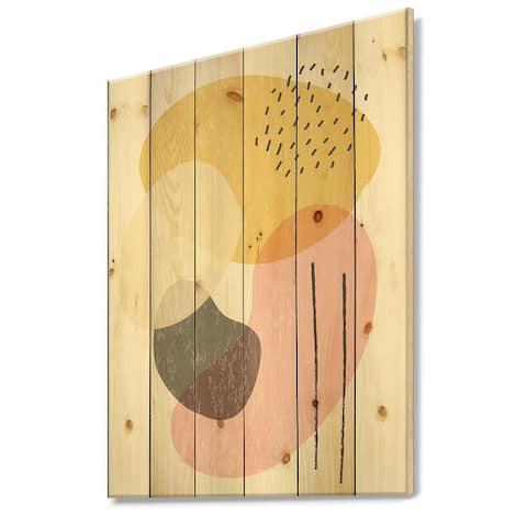 Designart 'Minimal Elementary Organic And Geometric Compostions XXXXXXXVI' Modern Print on Natural Pine Wood
