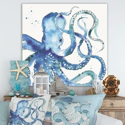 Designart 'Blue Deep Sea VIII' Coastal Premium Canvas Wall Art