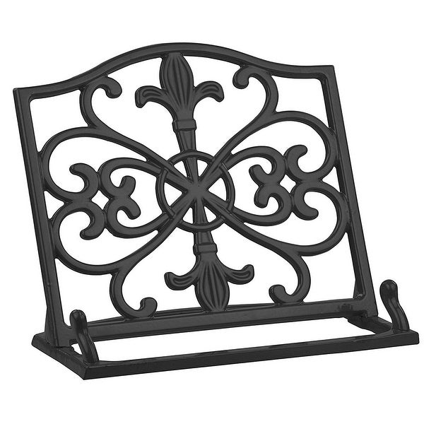 Home Basics Cast Iron Fleur De Lis Cookbook Stand, 10.5x5.5x9 Inches, Black. Opens flyout.