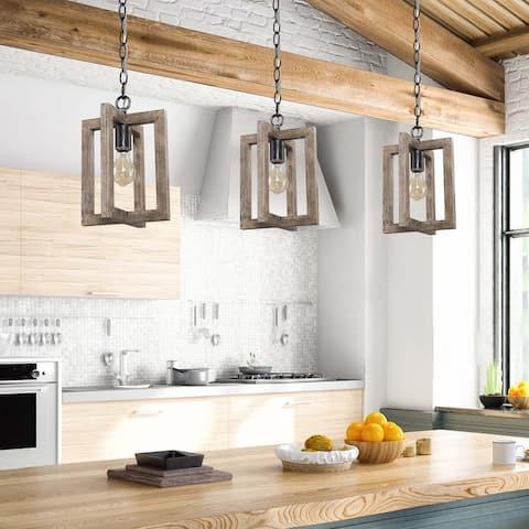 "Modern Farmhouse Mini 1-light Pendant Wood Island Lighting Fixture for Dining Room - L 8.3"" x W 8.3 ""x H 11.8"""
