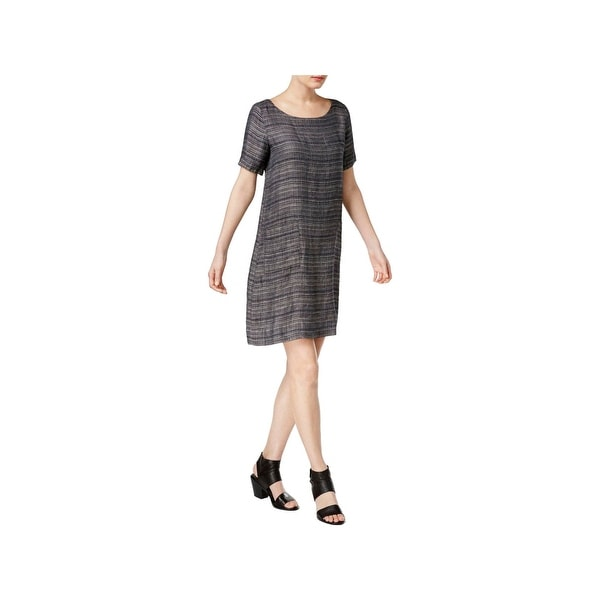 0158179748 Shop Eileen Fisher Womens Casual Dress Organic Linen Scoop Neck - Free  Shipping Today - Overstock - 21708213