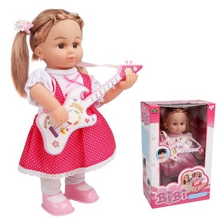 Costway 16'' Girl Doll Pretend Play Guitar Lifelike Singing 3 Songs Voice Control
