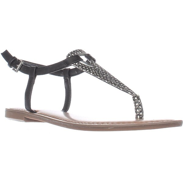 B35 Velvet Flat Thong Sandals, Black/White