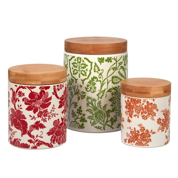 Certified International Damask Floral 3-piece Canisters with Bamboo Lids