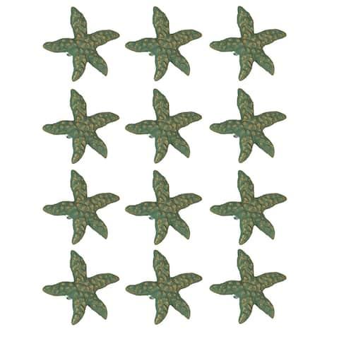 Green Verdigris Cast Iron Starfish Drawer Pull Set of 12 - 2.5 X 2.75 X 1.75 inches