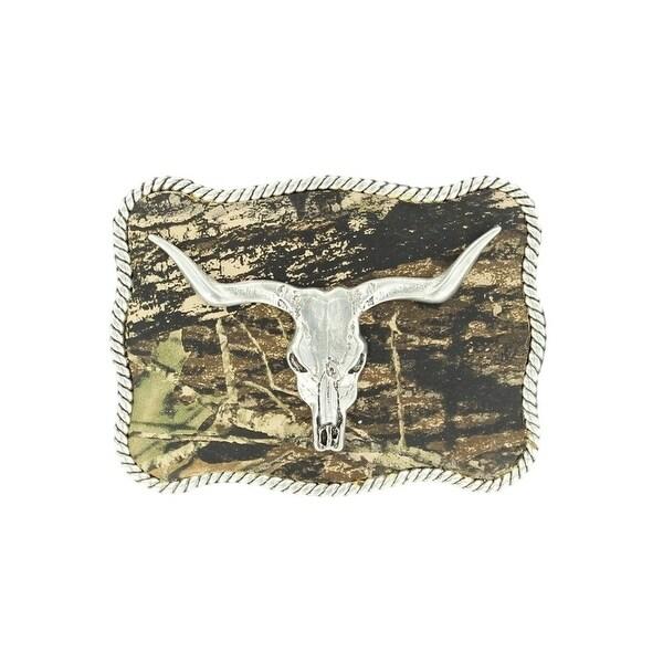 Nocona Western Belt Buckle Roped Longhorn Skull Silver Camo - 2 3/4 x 3 3/4