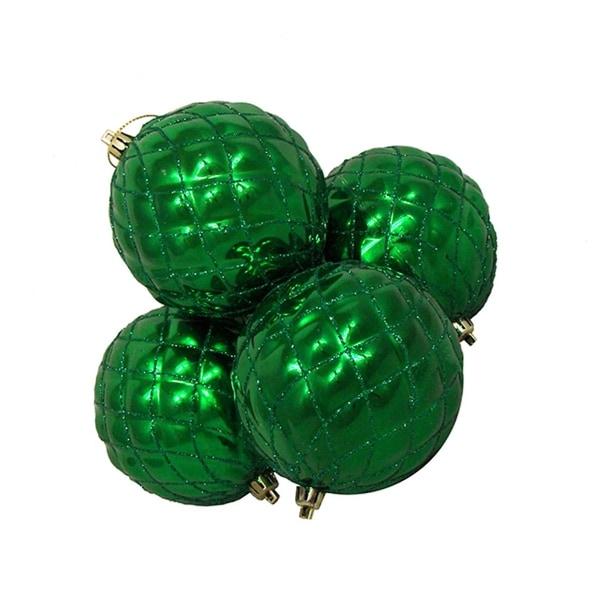 "4ct Shiny Xmas Green Diamond Design Shatterproof Christmas Ball Ornaments 3.75"""