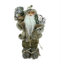 """12"""" Alpine Chic Beige and Brown Burlap and Corduroy Standing Santa with Snowshoes and Gift Bag"""