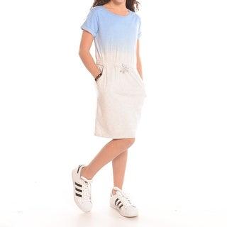 Short Sleeve Gradient Effect Knit Dress
