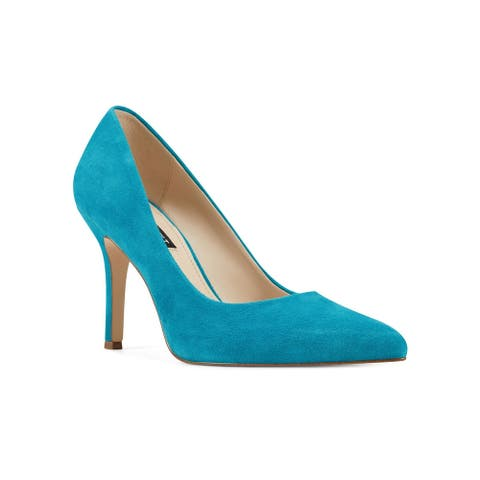 NINE WEST Womens Blue Pointed Toe Stiletto Slip On Leather Pumps 7.5 M