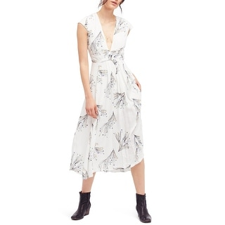 Link to Free People Womens Printed Retro Faux-Wrap Midi Dress, off-white, 4 Similar Items in Dresses