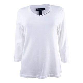 Karen Scott Women's Petite Cotton Button-Trim Top (PM, Bright White) - Bright White - pm