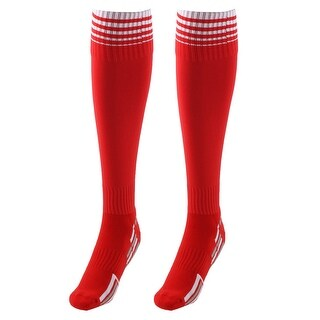 Unisex Nylon Anti Slip Stripe Pattern Football Soccer Sport Long Socks Red Pair