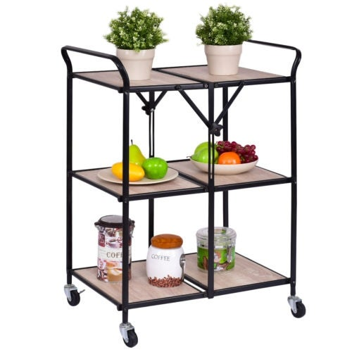 Costway 3 Tier Folding Kitchen Trolley Cart Rolling Serving Dining Storage Shelves As Pic