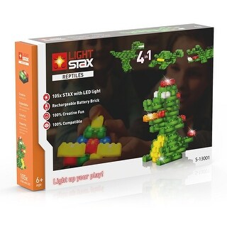 Light Stax Illuminated Blocks, 105-Piece Reptiles Set - Multi