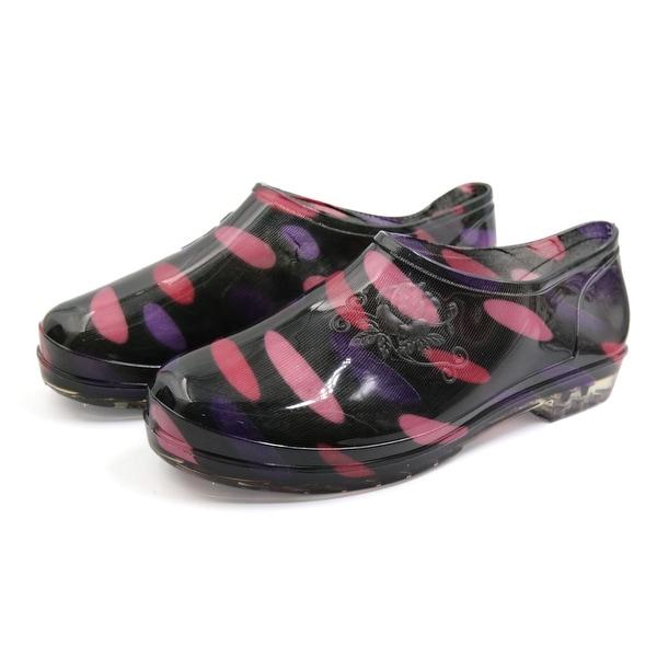 Ladies Black Purple US 8 Low Heel Slip Resistant Rain Boots Wellies Ankle Shoes