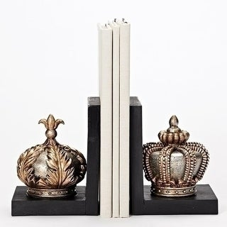 """Set of 2 Decorative Gold Crown Bookends 7.75"""""""