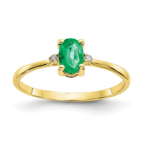 10K Yellow Gold Polished Geniune Diamond and Emerald Birthstone Ring by Versil