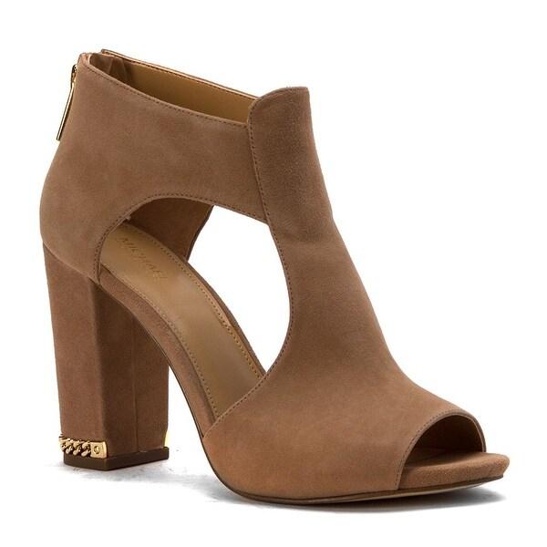 MICHAEL Michael Kors Womens Sabrina Suede Peep Toe Casual Mule Sandals