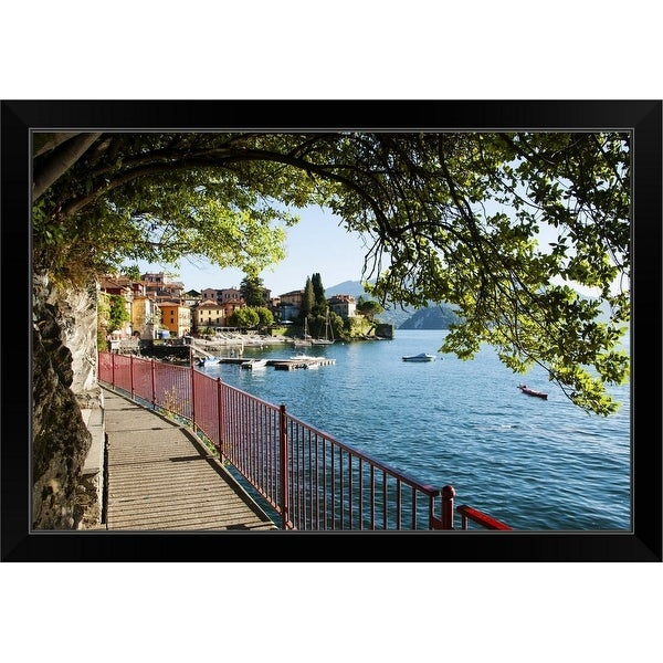 """Walkway along the shore of a lake, Varenna, Lake Como, Lombardy, Italy"" Black Framed Print"