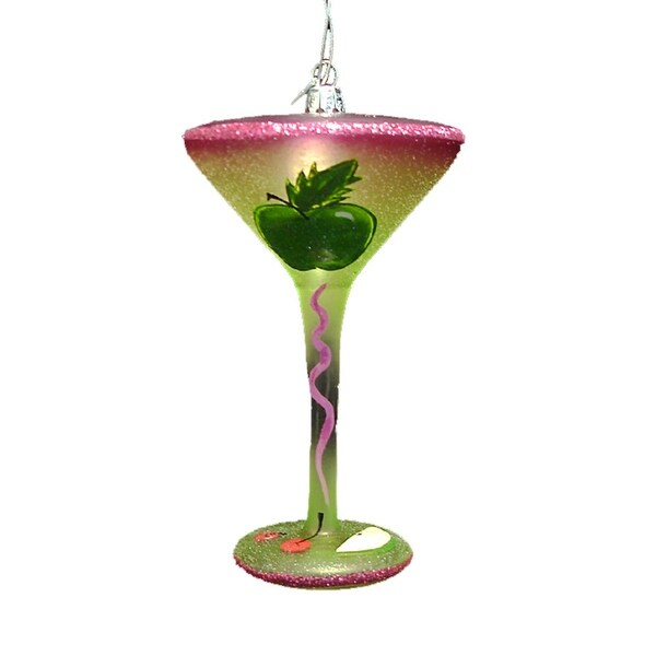 Happy Hour Blown Glass Happiness is an Apple Martini Cocktail Christmas Ornament - green