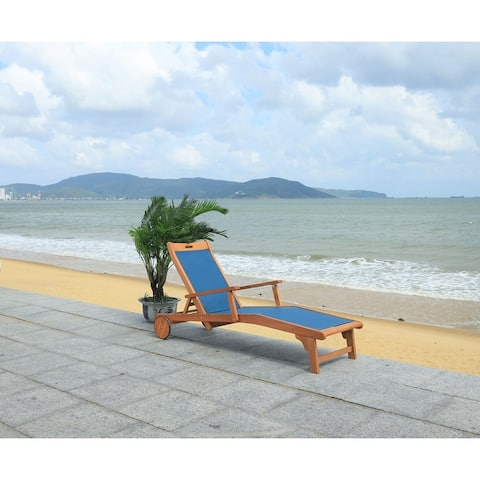 Safavieh Outdoor Living Kamson Sunlounger with Wheels