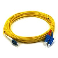 Monoprice Fiber Optic Cable - LC to SC, 9/125 Type, Single Mode, Duplex, Yellow, 10m