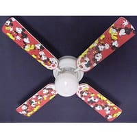 Disney's Red Mickey Mouse Print Blades 42in Ceiling Fan Light Kit - Multi