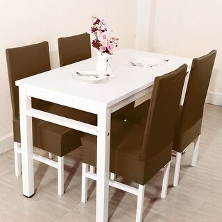 Unique Bargains Brown Spandex Stretch Washable Dining Chair Cover
