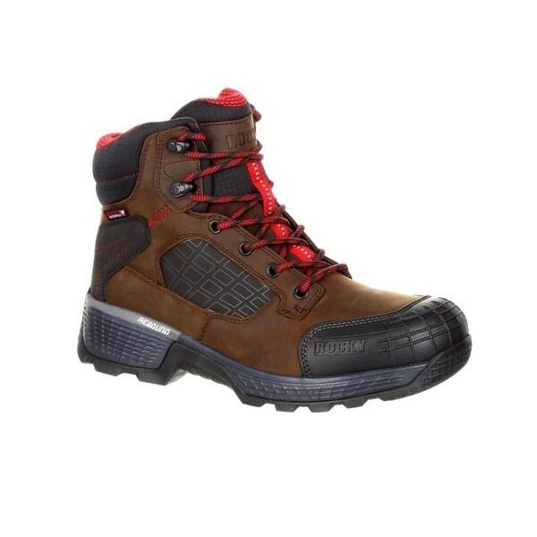 "Rocky Work Boots Mens Treadflex 6"" Lace Waterproof Dark Brown"