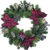 Purple Poinsettia and Silver Pinecone Two-Tone Pine Christmas Wreath - 24-Inch, Unlit - green