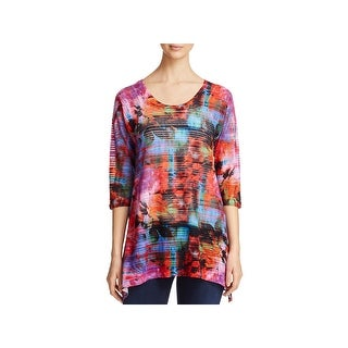 Nally & Millie Womens Tunic Sweater Printed 3/4 Sleeves