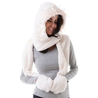 Mad Style White Cozy Hoody Scarf
