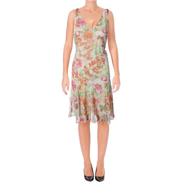 Lauren Ralph Lauren Womens Casual Dress Floral Surplice