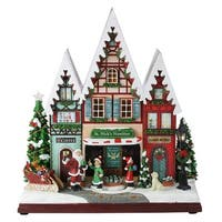 """13.5"""" Amusements LED Musical and Animated Storefront Christmas Tabletop Decoration - RED"""