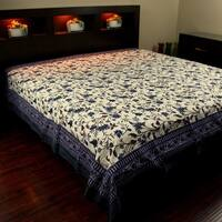Cotton Floral Tapestry Throw Tablecloth Bedspread Blue Brown Twin 72x106 inch Full 90 x 106 inches