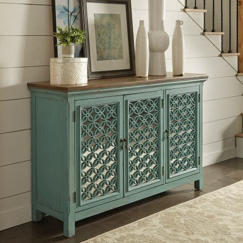 Stephanie Turquoise 3-door Accent Cabinet