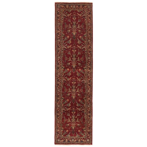 ECARPETGALLERY Hand-knotted Jamshidpour Dark Red Wool Rug - 2'3 x 6'0