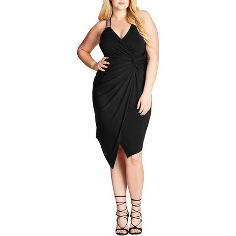 City Chic Womens Plus Cocktail Dress Asymmetrical Faux Wrap