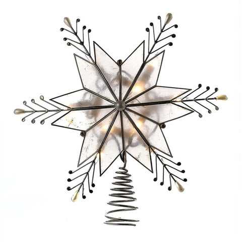 """9"""" Lighted 6-Point Star Shaped Christmas Tree Topper with Teardrop Pearl Tips- Clear Lights"""