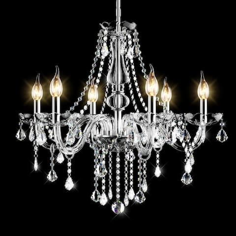 Costway Elegant Crystal Chandelier Modern 6 Ceiling Light Lamp Pendant - 24.5''x22''