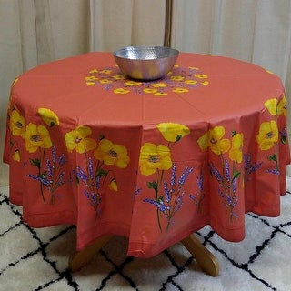 "French Provencal Acrylic Coated 100% Cotton Tablecloth  71"" Round - Yellow Sunflower - Salmon Peach Poppy - Off White Roses"