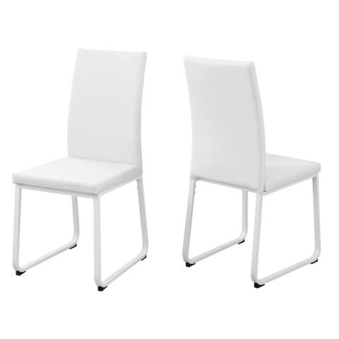 """Offex 2 Pieces Contemporary and Modern White Leather-Look/White Dining Chair - 38""""H"""