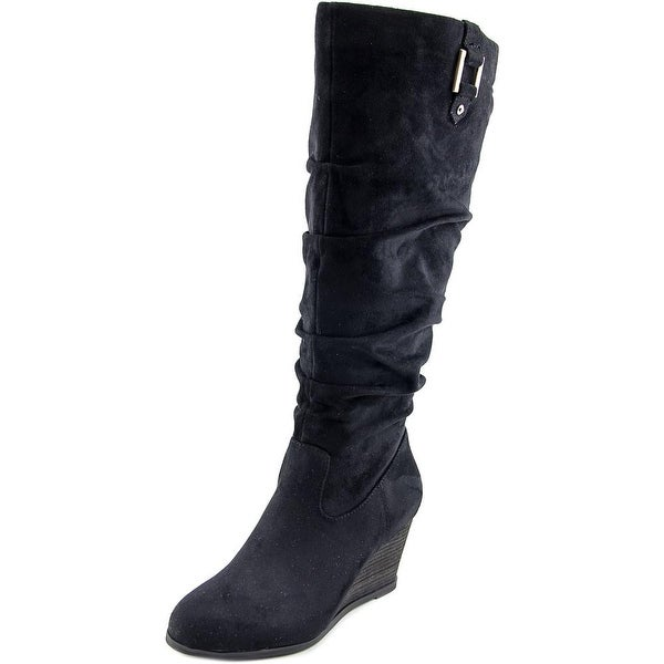 Dr. Scholl's Poe Wide Calf Women Round Toe Canvas Black Knee High Boot