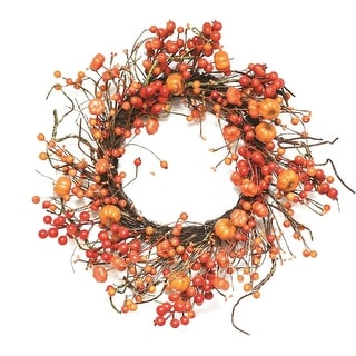 "20"" Autumn Harvest Decorative Artificial Fall Orange Berry and Mini Pumpkin Wreath - Unlit"
