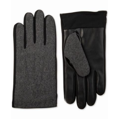 Isotoner Men's Gloves Gray Black Size Large L Faux-leather Touchscreen