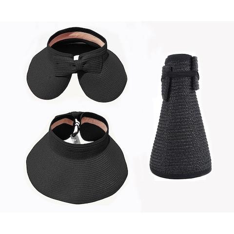 Haute Edition Women's Roll Up Packable Sun Visor Hat