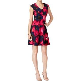 Sandra Darren Womens Petites Scuba Dress Crepe Floral Print