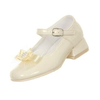Rain Kids Girls Ivory Patent Bow Glittery Stud Dress Shoes 11-5 Kids