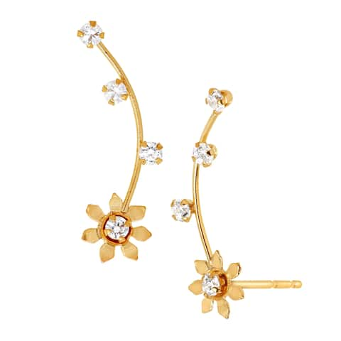 Daisy Climber Earrings with Cubic Zirconia in 14K Gold